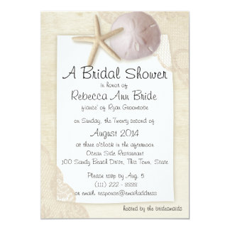 """Sand Dollar and Ivory Lace Bridal Shower 5"""" X 7"""" Invitation Card"""