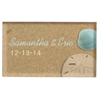 Sand-dollar and Shell Beach Custom Table Card Holder