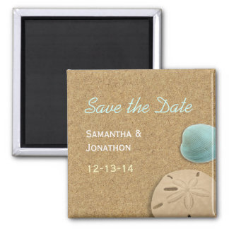 Sand-dollar and Shell Beach Theme Save the Date 2 Inch Square Magnet