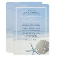 Sand Dollar and Starfish Beach Wedding Invitation