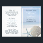 """Sand Dollar and Starfish Beach Wedding Program<br><div class=""""desc"""">These bi-fold programs are perfect for any couple planning an elegant beach wedding. The design features a creamy sand dollar and a light blue starfish with a faded blue beach background. The design is finished off with a delicate sand color border. The simple and fresh design can be personalized to...</div>"""
