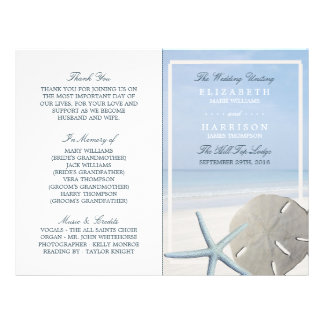 Sand Dollar and Starfish Beach Wedding Program