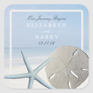 Sand Dollar and Starfish Beach Wedding Square Sticker