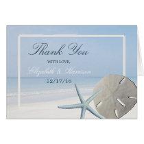 Sand Dollar and Starfish Beach Wedding Thank You