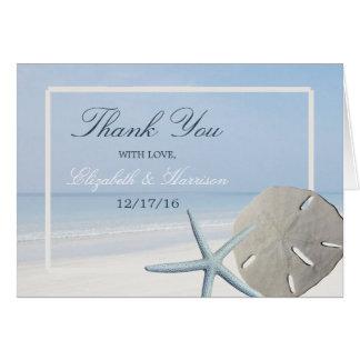 Sand Dollar and Starfish Beach Wedding Thank You Card