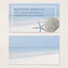 Sand Dollar And Starfish Beach Wedding Website Business Card at Zazzle