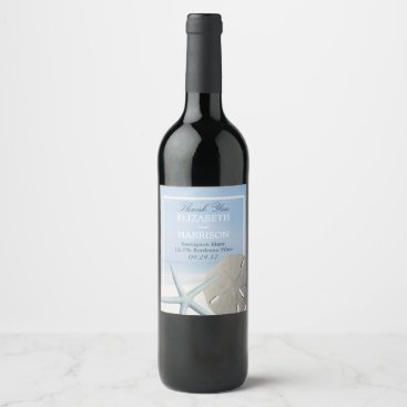 StampedyStamp Sand Dollar and Starfish Beach Wine Label