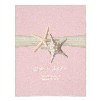 Sand Dollar and Starfish Pink Reception Card
