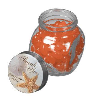 Sand Dollar and Starfish Shell Beach Glass Jars