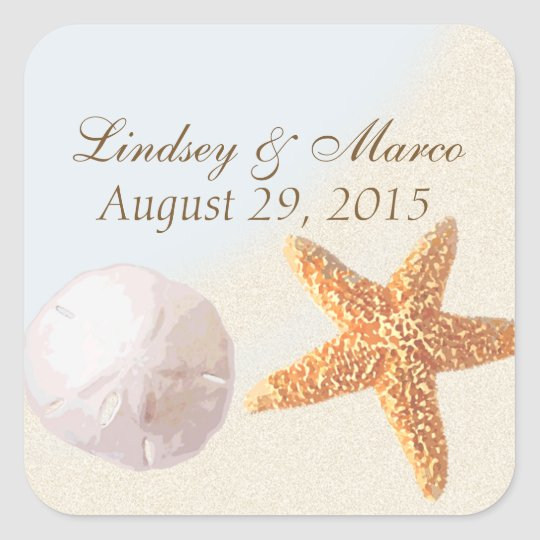 Sand Dollar and Starfish Shell Beach Square Sticker