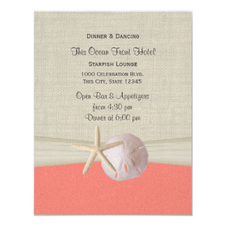 Sand Dollar and Starfish Shell Coral Reception Card