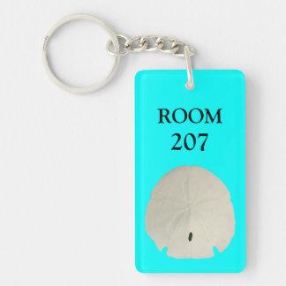 Sand Dollar Aqua Marine Room Number Keychain