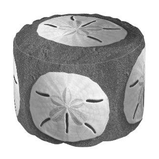 Sand Dollar B&W Sea Shell Custom Design Pouf Round Pouf