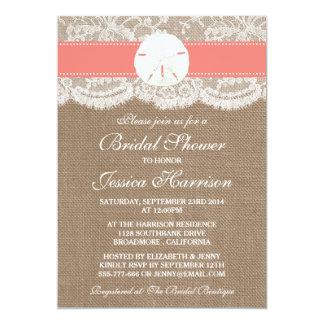 Sand Dollar Beach Bridal Shower - Coral Card