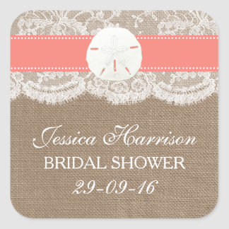 Sand Dollar Beach Bridal Shower - Coral Square Sticker