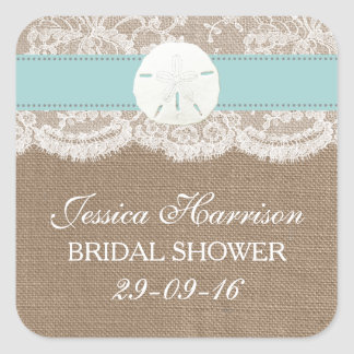 Sand Dollar Beach Bridal Shower - Turquoise Square Sticker