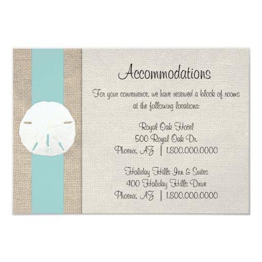 Sand Dollar Beach Wedding Accommodation Card 35 X 5 Invitation Card