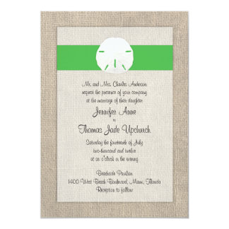 Sand Dollar Beach Wedding Invitation - Green