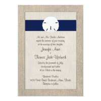 Sand Dollar Beach Wedding Invitation Navy Blue