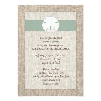 Sand Dollar Beach Wedding Invitation - Peridot