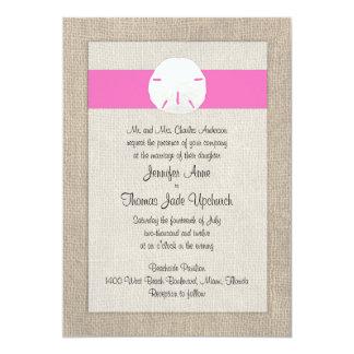 Sand Dollar Beach Wedding Invitation - Pink
