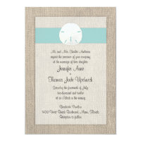 Sand Dollar Beach Wedding Invitation - Turquoise