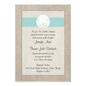 Sand Dollar Beach Wedding Invitation - Turquoise 5