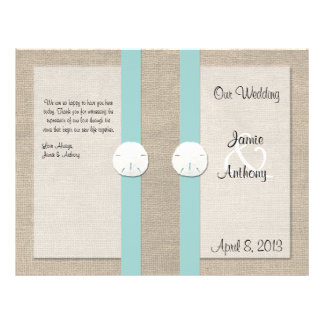 Sand Dollar Beach Wedding Program - Turquoise Personalized Flyer