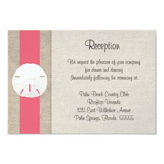 Sand Dollar Beach Wedding Reception Card Coral