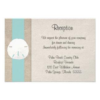 Sand Dollar Beach Wedding Reception Invitation Car