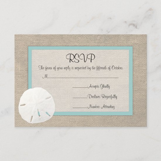 Sand Dollar Beach Wedding RSVP card
