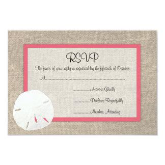 Sand Dollar Beach Wedding RSVP card Coral Custom Invite