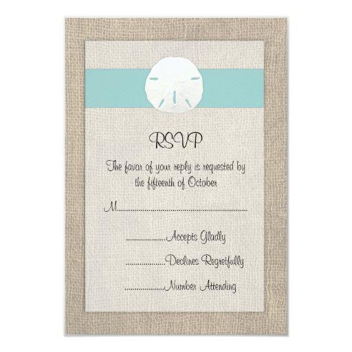 "Sand Dollar Beach Wedding RSVP Card 3.5"" X 5"" Invitation Card"