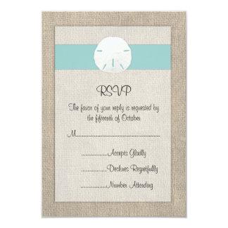 Sand Dollar Beach Wedding RSVP Card Personalized Announcement