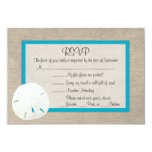 Sand Dollar Beach Wedding RSVP card Malibu 2 Personalized Invitation