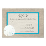 Sand Dollar Beach Wedding RSVP card Malibu Custom Invites
