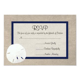 Sand Dollar Beach Wedding RSVP card - Navy Blue Invites