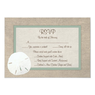 Sand Dollar Beach Wedding RSVP Card - Peridot Personalized Invite