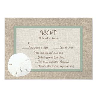 Sand Dollar Beach Wedding RSVP Card - Peridot Custom Announcements