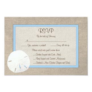 Sand Dollar Beach Wedding RSVP Card - Sky Blue Personalized Announcements