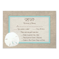 Sand Dollar Beach Wedding RSVP Card - Turquoise