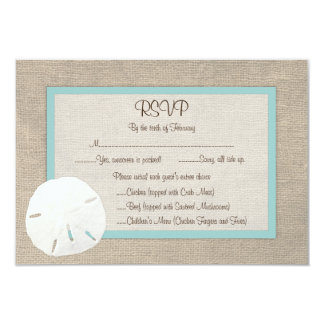 Sand Dollar Beach Wedding RSVP Card - Turquoise