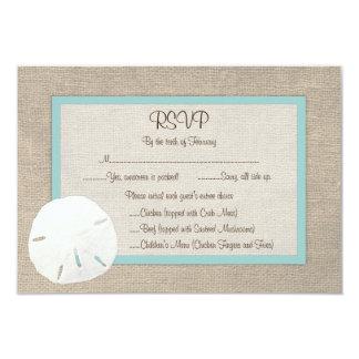 Sand Dollar Beach Wedding RSVP Card - Turquoise Custom Invitations