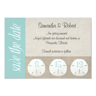 "Sand Dollar Beach Wedding Save the Date 3.5"" X 5"" Invitation Card"
