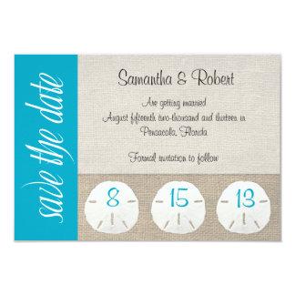Sand Dollar Beach Wedding Save the Date Malibu 3.5x5 Paper Invitation Card
