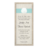 Sand Dollar & Burlap Beach Wedding Invitation