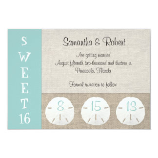 Sand Dollar & Burlap Sweet 16 Invitation