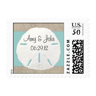 Sand dollar & Burlap wedding postage