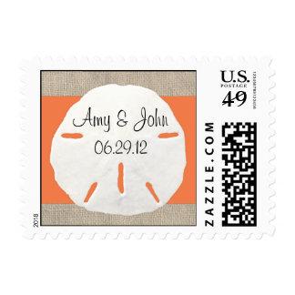 Sand dollar & Burlap wedding postage - Orange