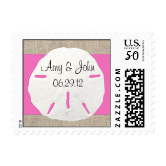 Sand dollar & Burlap wedding postage - Pink